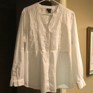 White V- Neck Button Down Shirt by Torrid